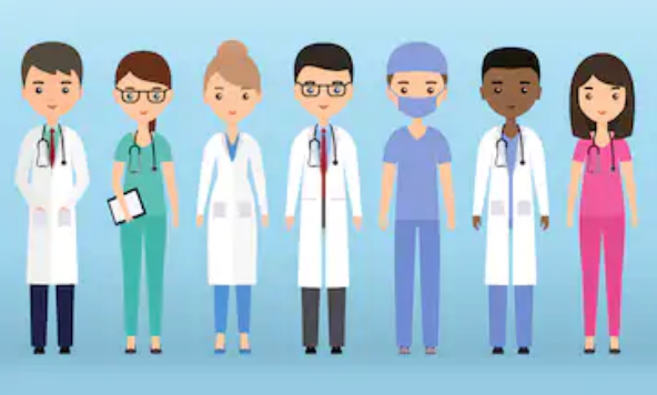 Graphics of doctors and nurses