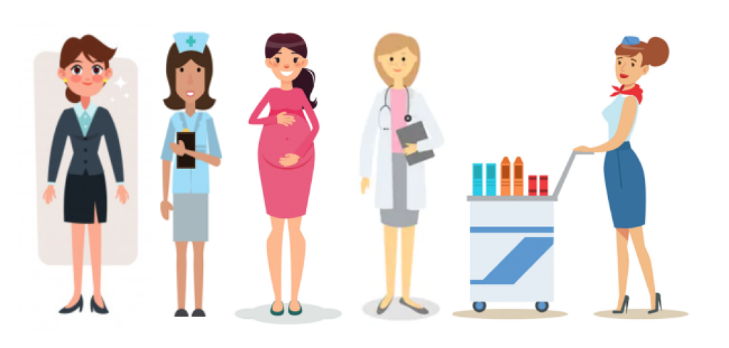 Graphic of Office lady, nurse, pregnant woman, doctor and flight attendant