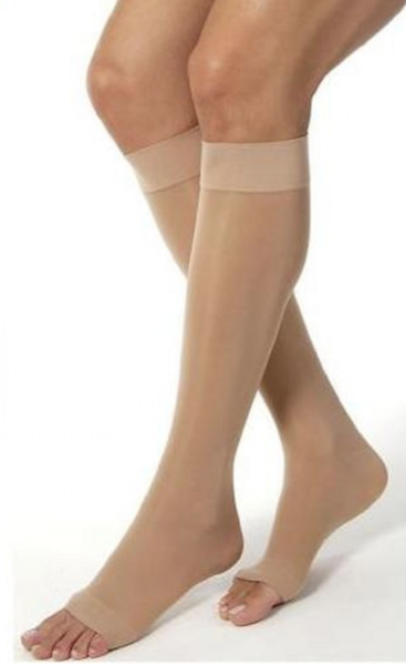 Open toe knee high compression stockings