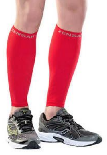 Red compression leg sleeves/leg compression sleeves with compression socks for calf muscle