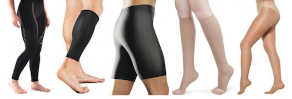 Variations of compression legwear including compression socks, compression stockings, compression tights/leggings, compression shorts and compression leg sleeves