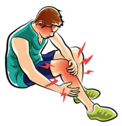 Graphic of men with injured knee and calf muscle