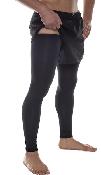 Man wearing a pair of over the knee compression leg sleeves to help promote better blood flow and quicker recovery after exercise