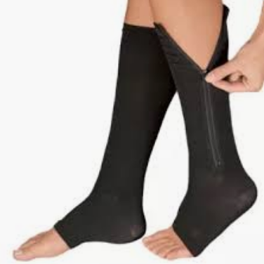 Compression socks/circulation socks with zippers