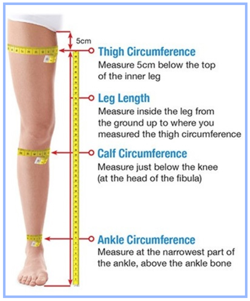 How to measure for thigh high leg garments