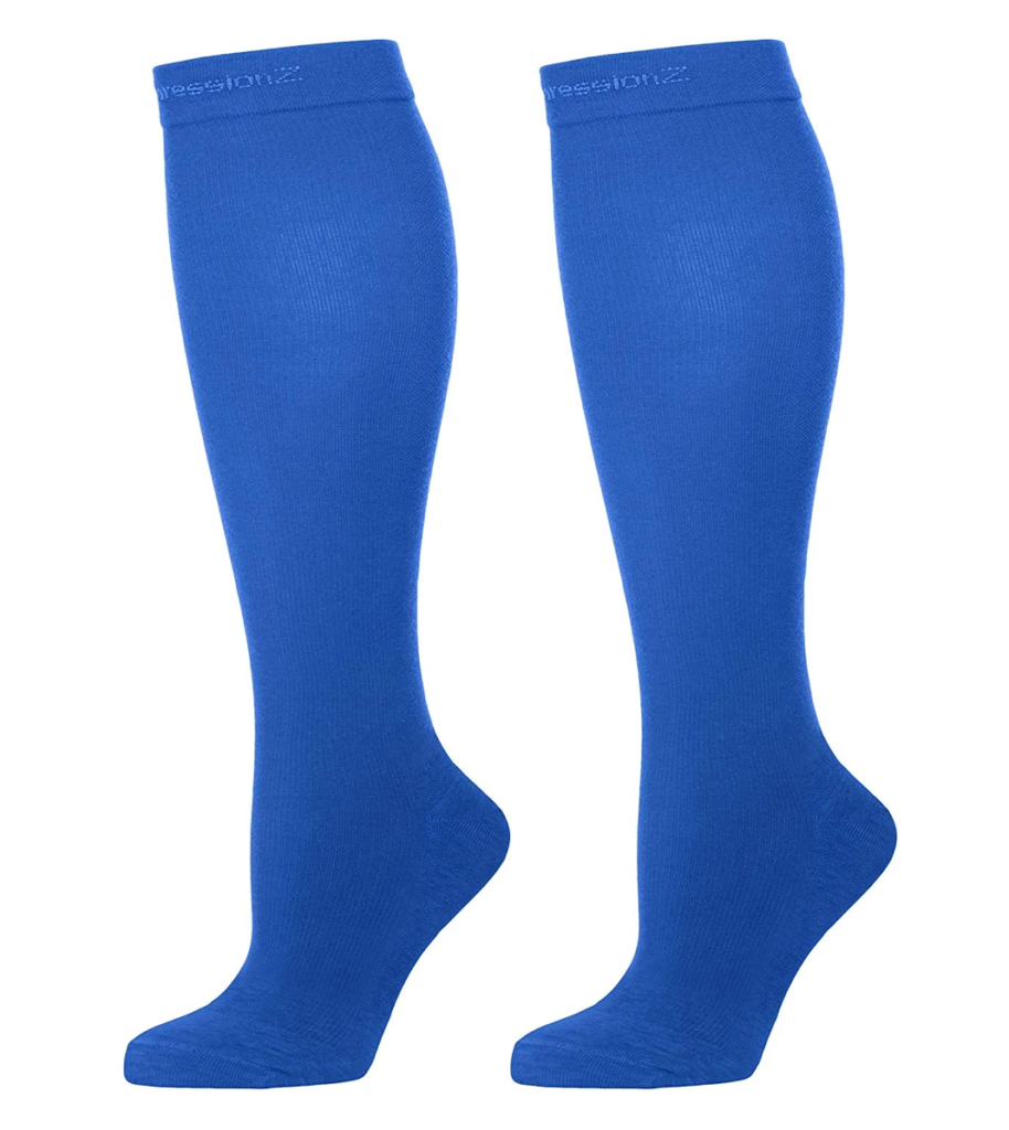 Blue compression socks for those swollen feet suitable for those with cancer, diabetes, edema (swelling), trauma, or heart disease.