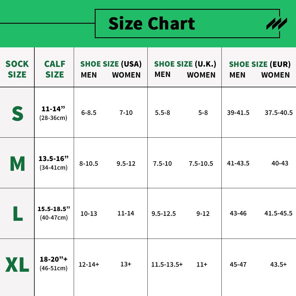 ComproGear Compression Socks Basic Sizing Chart