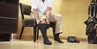Wearing compression stockings