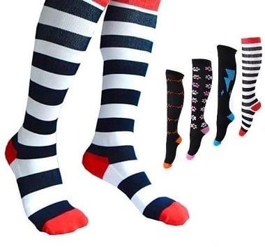 strips style socks.