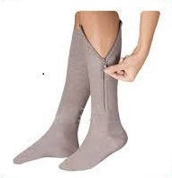 Calf length zippered compression socks