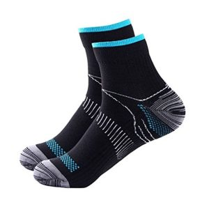 image of blue and black color ankle socks for compression