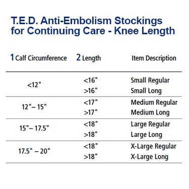 Image showing chart of anti embolism stockings knee length