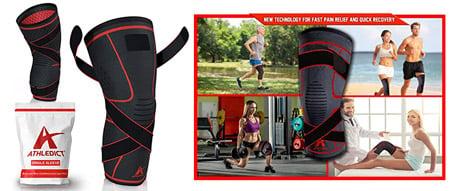 Athledict knee sleeves, man/woman lifting, running, exercising
