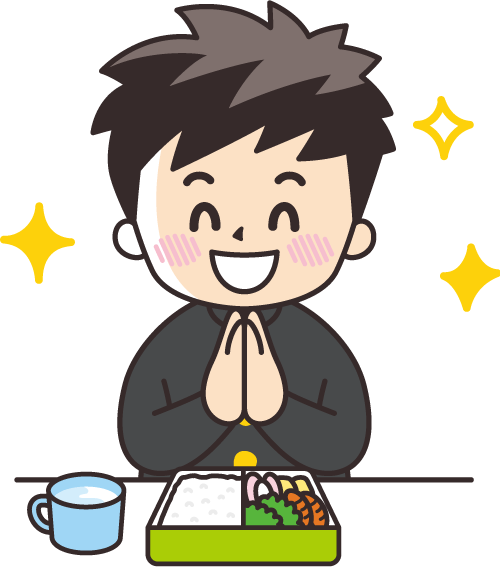 a cartoon illustration of a little boy and his bento box
