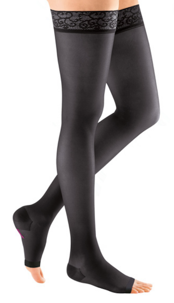 15 - 20 mmHg Black thigh high circulation stockings with lace border