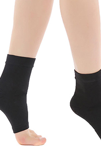 black open toe ankle high compression stockings