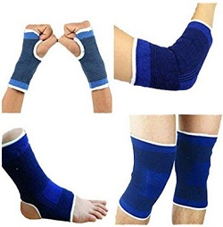 picture of multiple types of support stockings, leg compression socks, hand compression socks, toeless compression socks