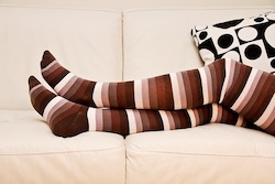 Brown Thigh High Compression Stockings. These Compression Stockings are 20-30 mmHg Compression Level.