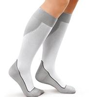 woman wearing closed toe compression socks