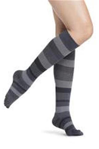 closed toe knee high stripes support hosiery for women