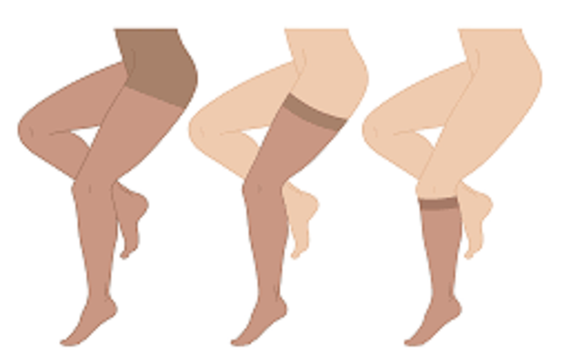 Compression socks and compression hosiery come in various lengths.