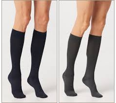 legs wearing compression stockings