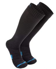 wanderlust black socks with blue strip