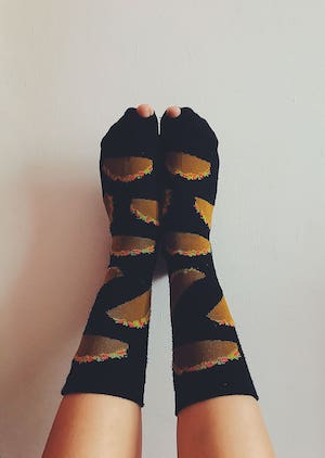 Look at these tacos on your feet. These keep compromised legs under control and improve blood flow during long hospital shifts.