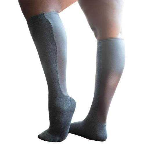image wearing ankle length mmhg knee high compression socks for absolute support and varicose veins