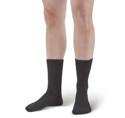 Compression socks work to improve the circulation in your legs and feet.