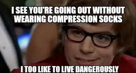 funny meme about compression stockings