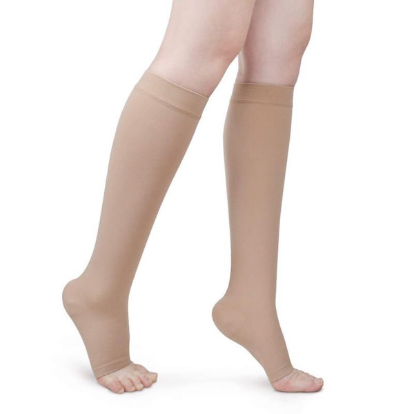 Skin color open-toe compression stockings