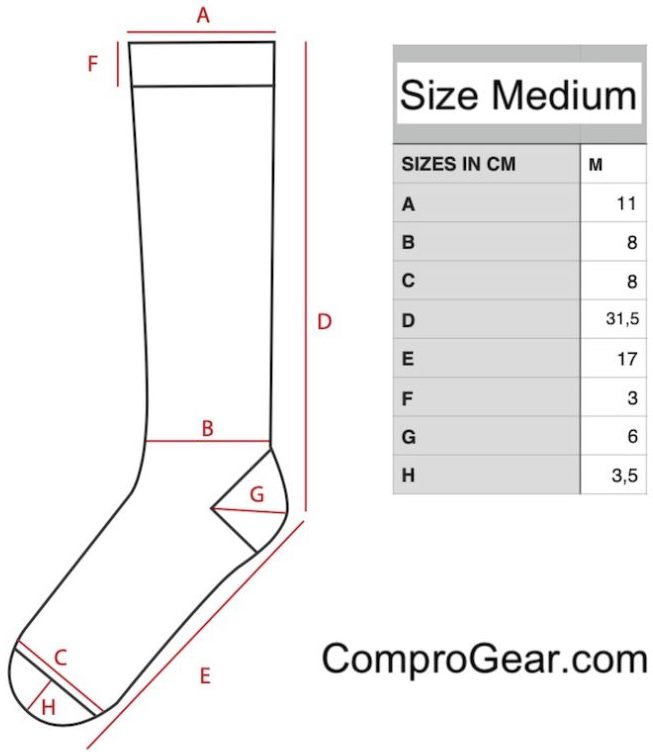 ComproGear Compression Socks Advanced Sizing Chart for Sock Size Medium