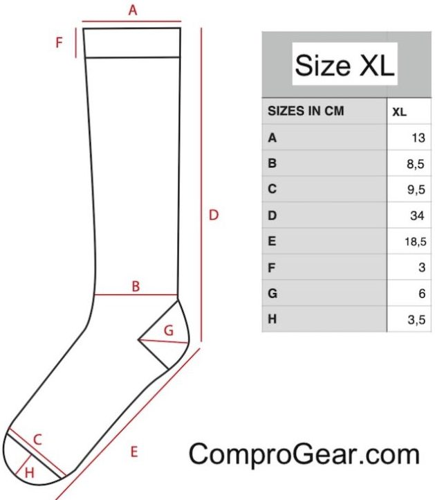 ComproGear Compression Socks Advanced Sizing Chart for Sock Size Extra Large