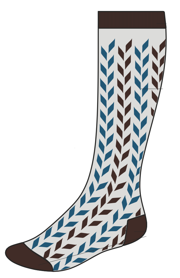 ComproGear's savory blue chevrons knee-length compression sock