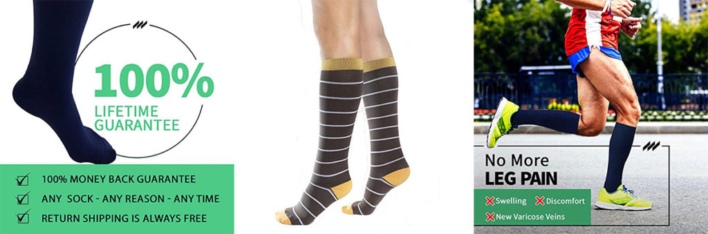 Comprogear compression gear in black, stripes/brown, man running with compression socks on