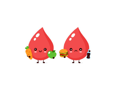 anthromorphic cartoon image of 2 droplets of blood; one holding a carrot and an apple and the other holding a burger and a soda bottle