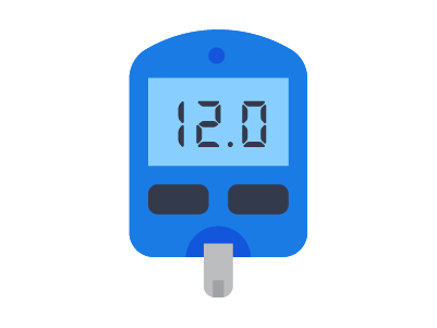 cartoon illustration of a glucose meter showing the number 12.0 for the blood sugar reading