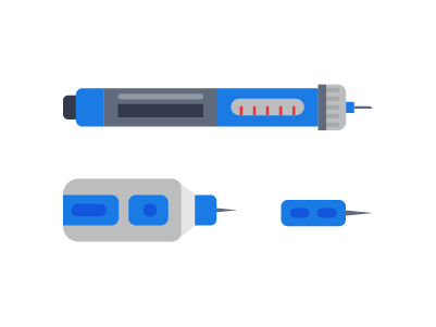 illustration of 3 different types of lancets used in blood sugar monitoring