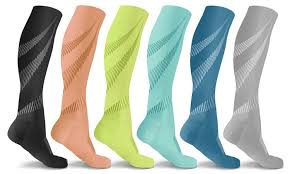 Many colored compression socks.