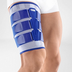 The elastic or silicone band gripping your thighs