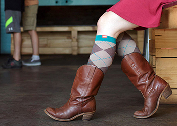 fashionable flight socks worn with brown leather boots