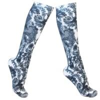 blue floral patterned compression socks