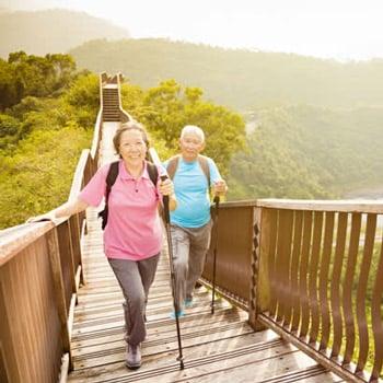 A senior couple walking on the bridge
