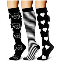 Different types of black and white knee-high pressure socks