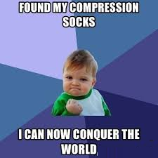 funny meme about compression socks