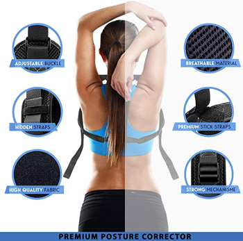 a woman wears a back brace with the inset photos showing some of the qualities needed for a good device