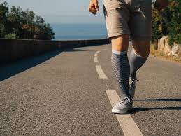 Man wearing compression stockings during walk