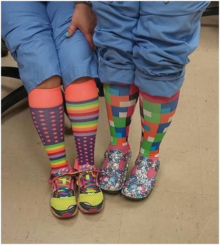 Nurses wearing colorful high compression socks