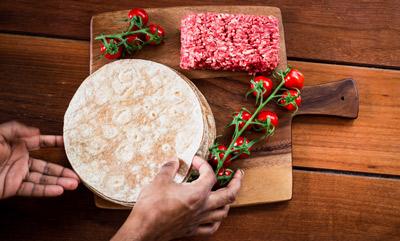Tortillas on a Wooden Board